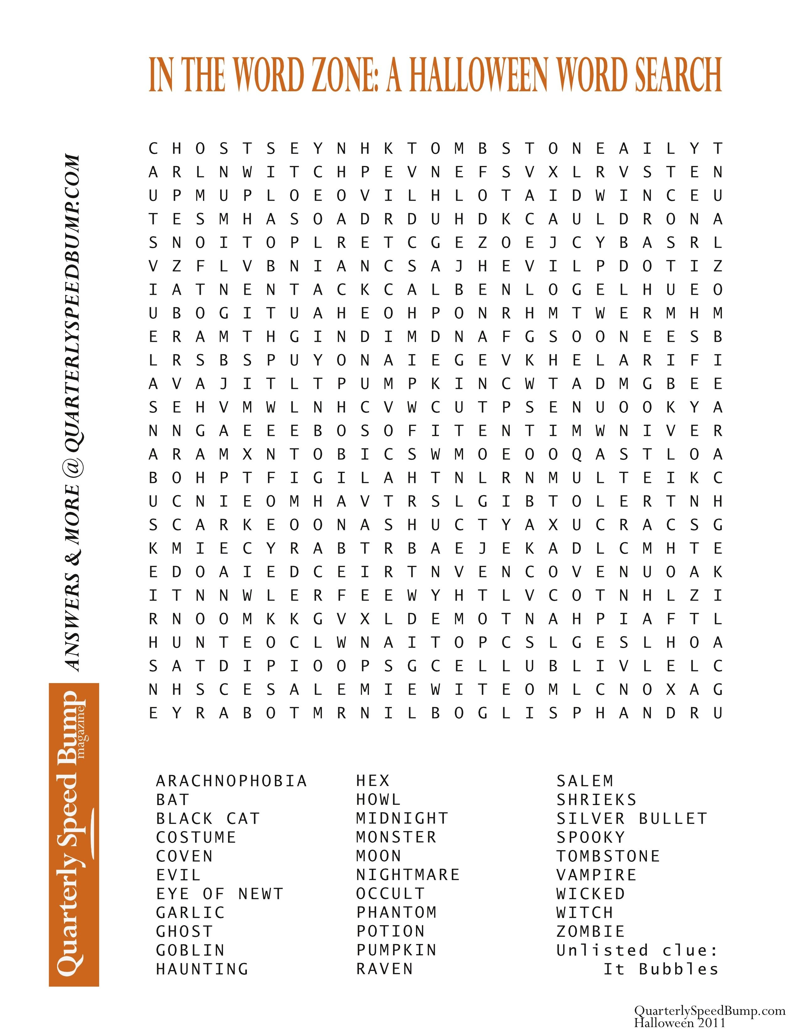 Free Printable Halloween Word Search Puzzles | Halloween Puzzle For - Free Printable Halloween Word Search Puzzles
