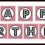 "Free Printable ""happy Birthday"" Banner / Red, Black & White   Free Printable Birthday Banner"