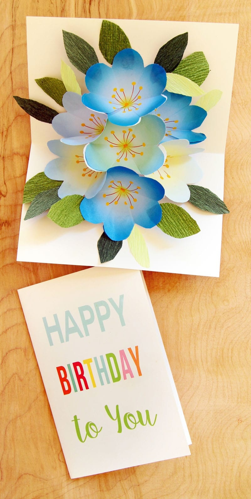 Free Printable Happy Birthday Card With Pop Up Bouquet - A Piece Of - Free Printable Pop Up Birthday Card Templates