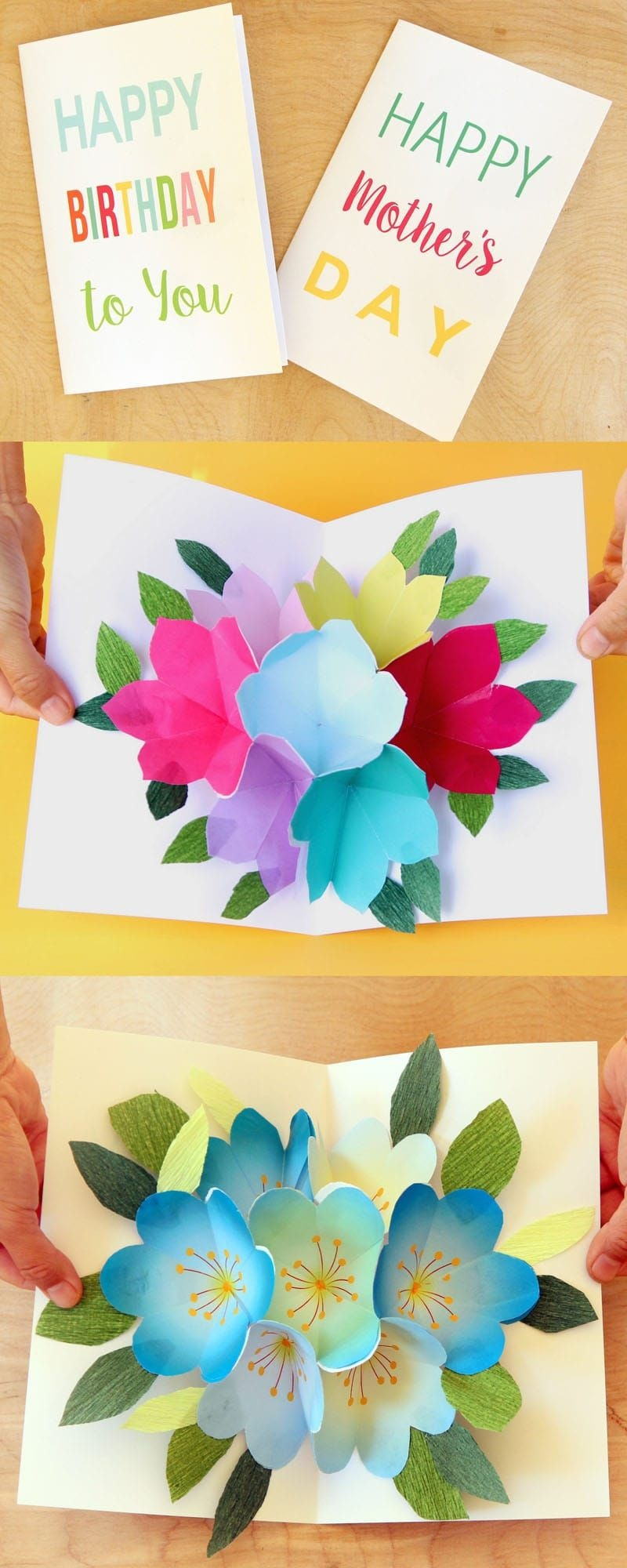 Free Printable Happy Birthday Card With Pop Up Bouquet | Printables - Free Printable Pop Up Birthday Card Templates