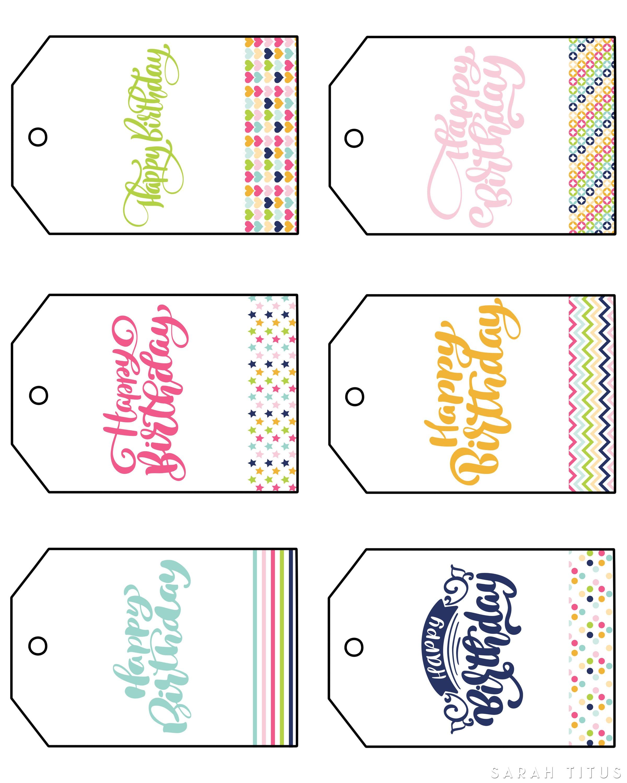 Free Printable Happy Birthday Gift Tags - Sarah Titus - Free Printable Toe Tags