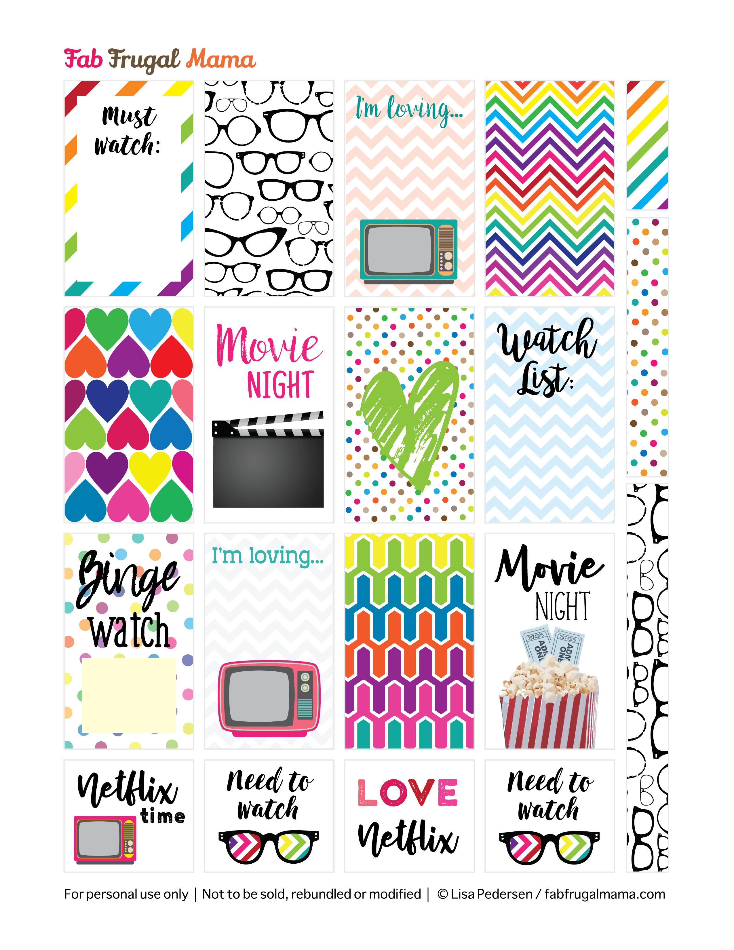 Free Printable Happy Planner Tv & Movie Stickers - Fab Frugal Mama - Free Printable Stickers