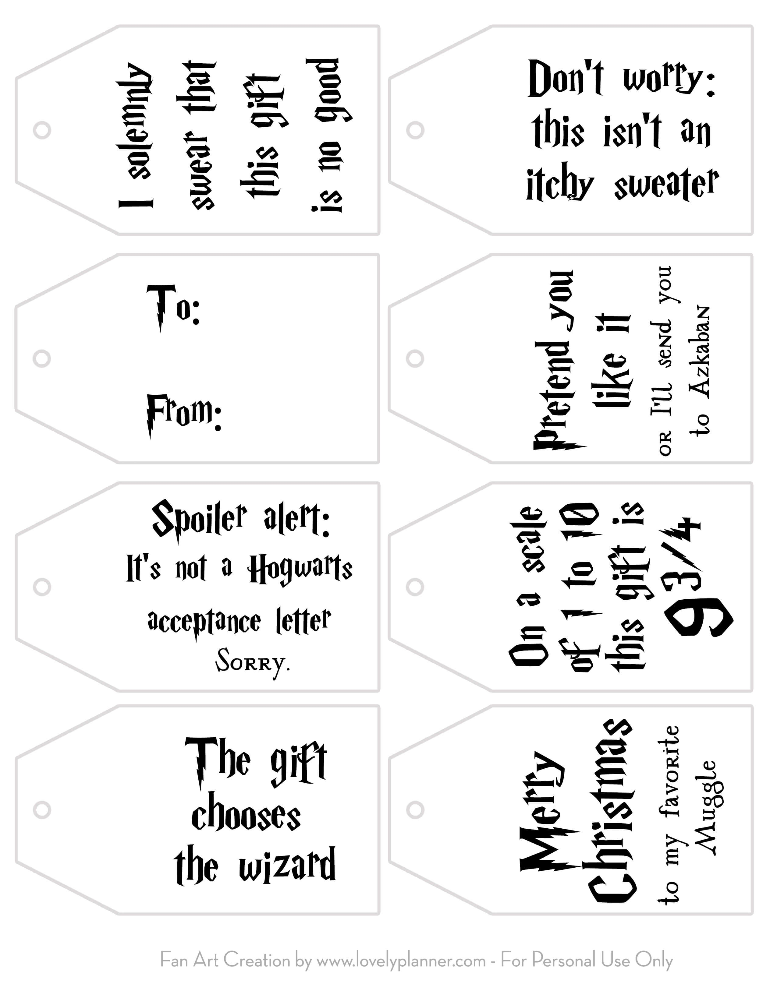 Free Printable Harry Potter Gift Tags For Christmas - Lovely Planner - Christmas Gift Tags Free Printable Black And White
