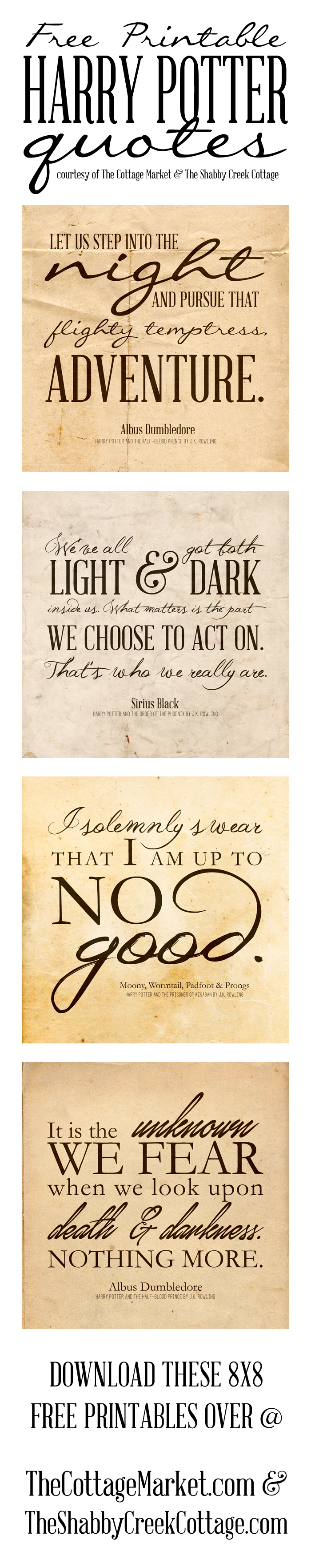 Free Printable Harry Potter Quotes   The Cottage Market - Free Harry Potter Printables