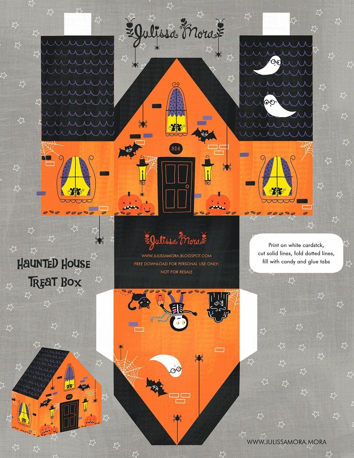 Free Printable Haunted House Treat Box ^^ #paperhouse   Sketches And - Free Printable Halloween Paper Crafts