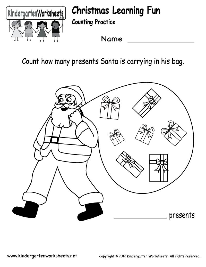 Free Printable Holiday Worksheets   Kindergarten Santa Counting - Free Printable Christmas Worksheets For Kids