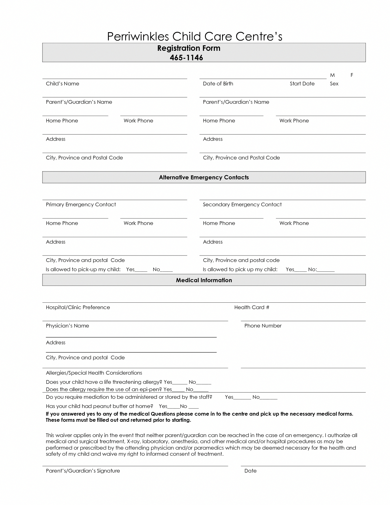 Free Printable Home Daycare Forms - Tutlin.psstech.co - Free Printable Daycare Forms