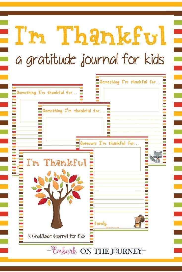"Free Printable ""i'm Thankful"" Gratitude Journal For Kids - Free Printable Gratitude Journal"