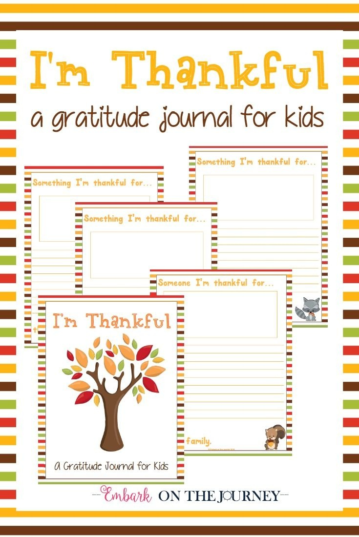 "Free Printable ""i'm Thankful"" Gratitude Journal For Kids - Free Printable Gratitude Worksheets"