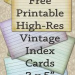Free Printable Index Cards Vintage Look High Res | Freebies   Free Printable Index Cards