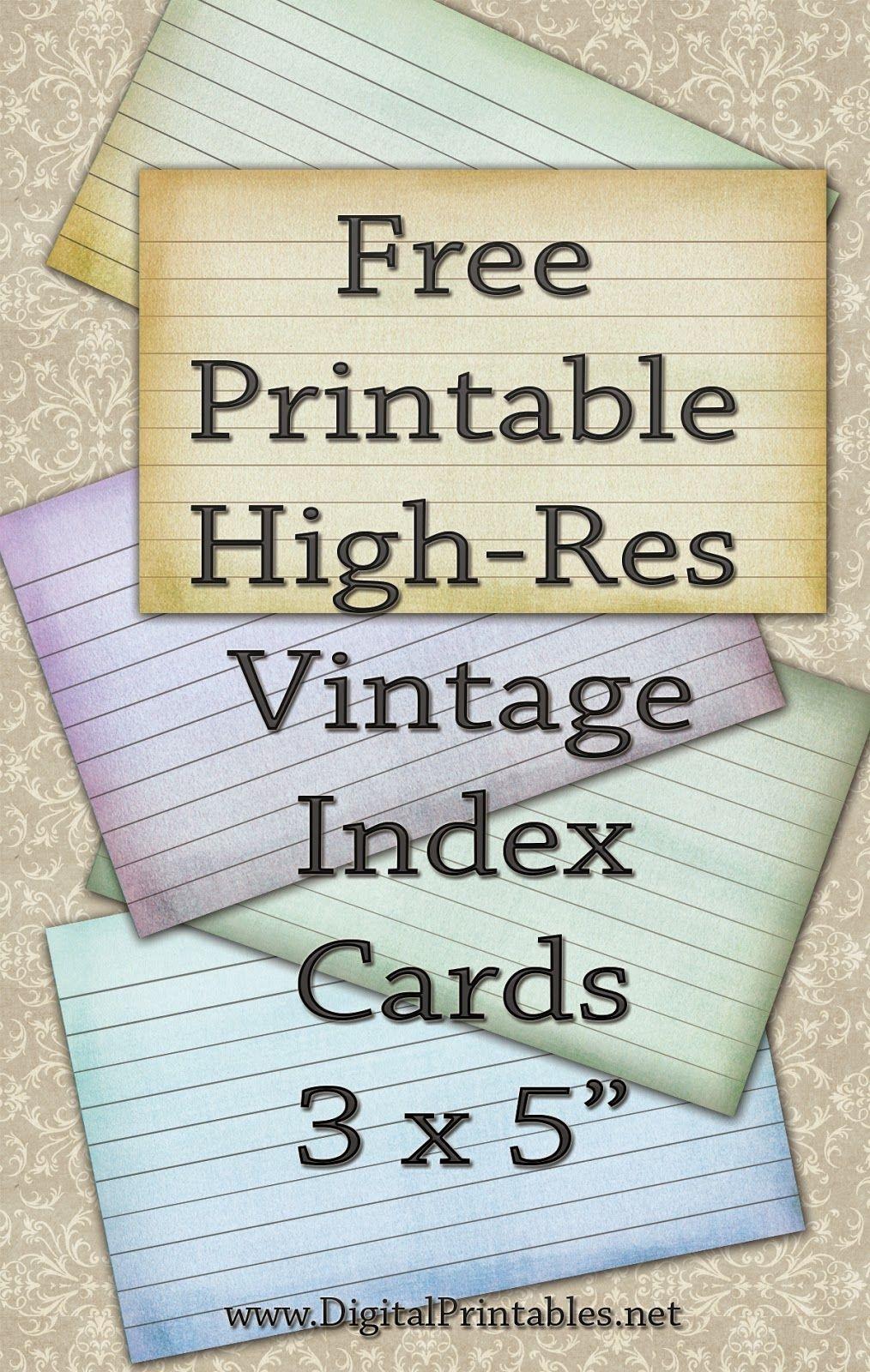 Free Printable Index Cards Vintage Look High Res | Freebies - Free Printable Index Cards