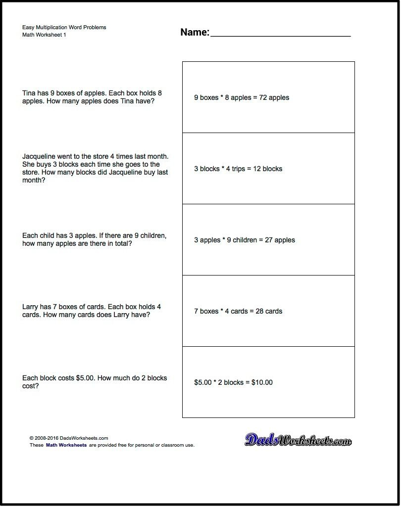 Free Printable Introductory Word Problem Worksheets For Addition For - Free Printable Division Word Problems Worksheets For Grade 3