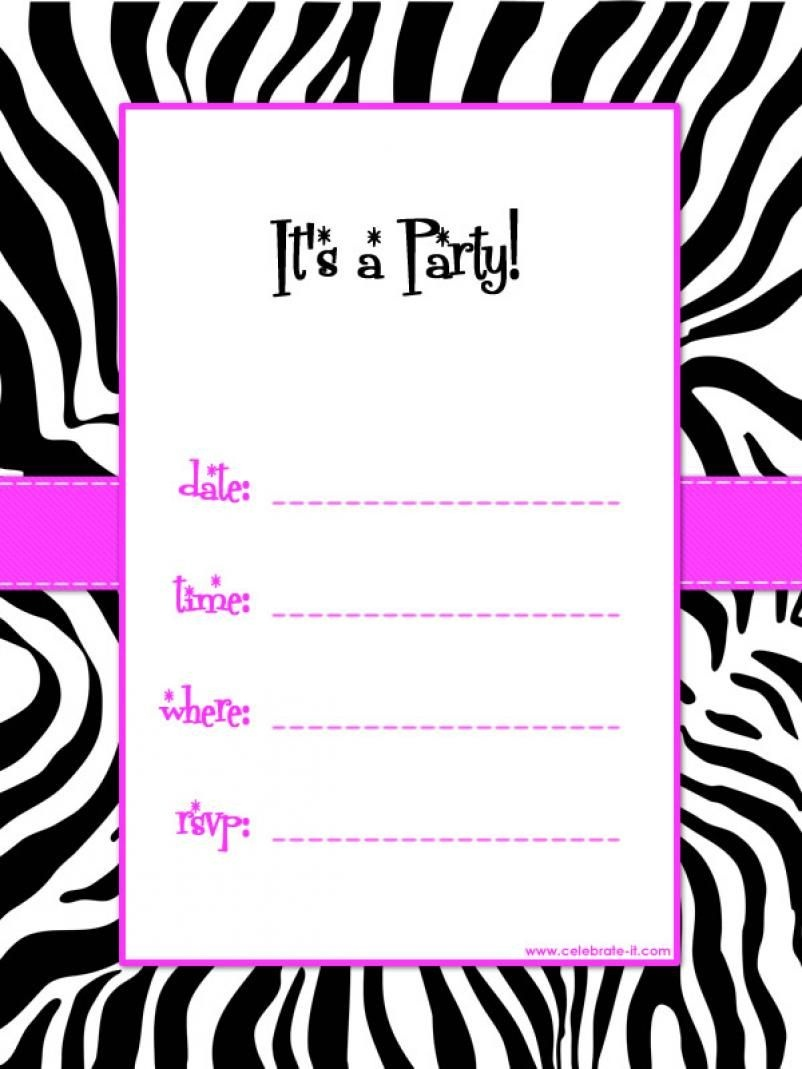 Free Printable Invitations Birthday | Free Printable Birthday - Zebra Print Party Invitations Printable Free