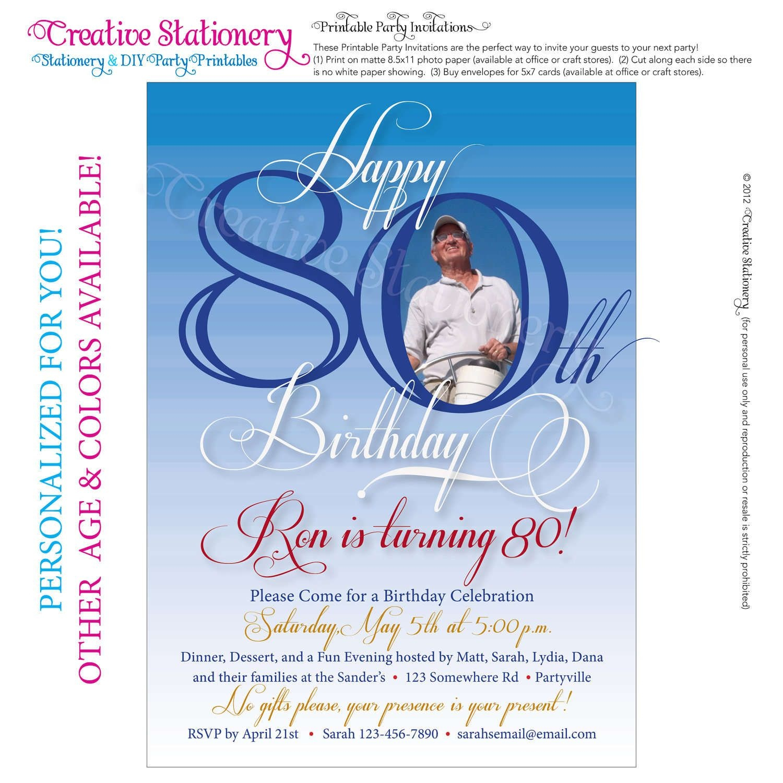 Free Printable Invitations For 80Th Birthday Party | Party In 2019 - Printable Invitations Free No Download
