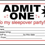 Free Printable Invitations For Kids Sleepover – Invitationlayout   Free Printable Movie Ticket Birthday Party Invitations