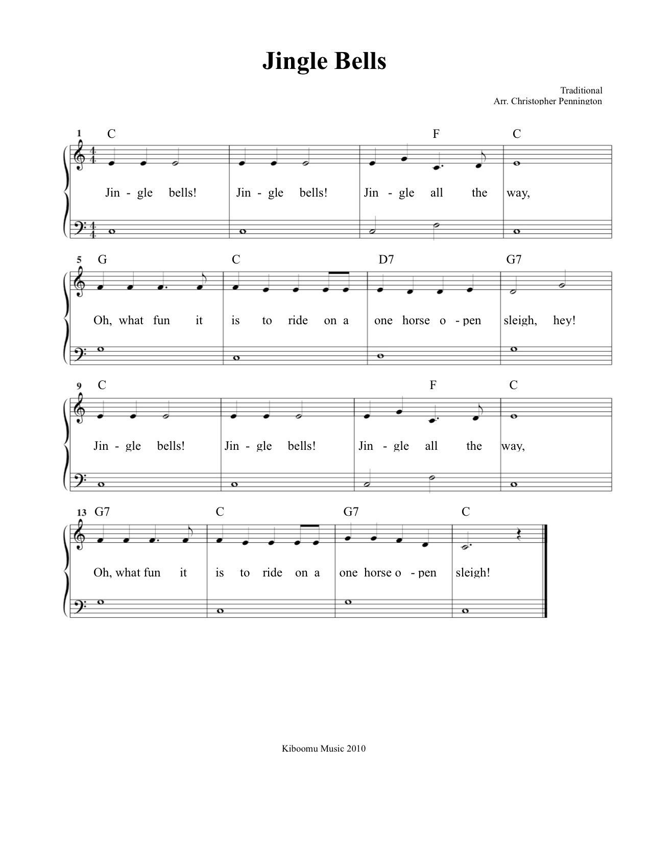 Free Printable Jingle Bells Sheet Music And Song For Kids!   Piano - Christmas Songs Piano Sheet Music Free Printable