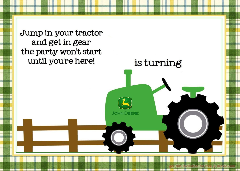 Free Printable John Deere Tractor Birthday   Birthday Invitation - Free Printable John Deere Birthday Invitations