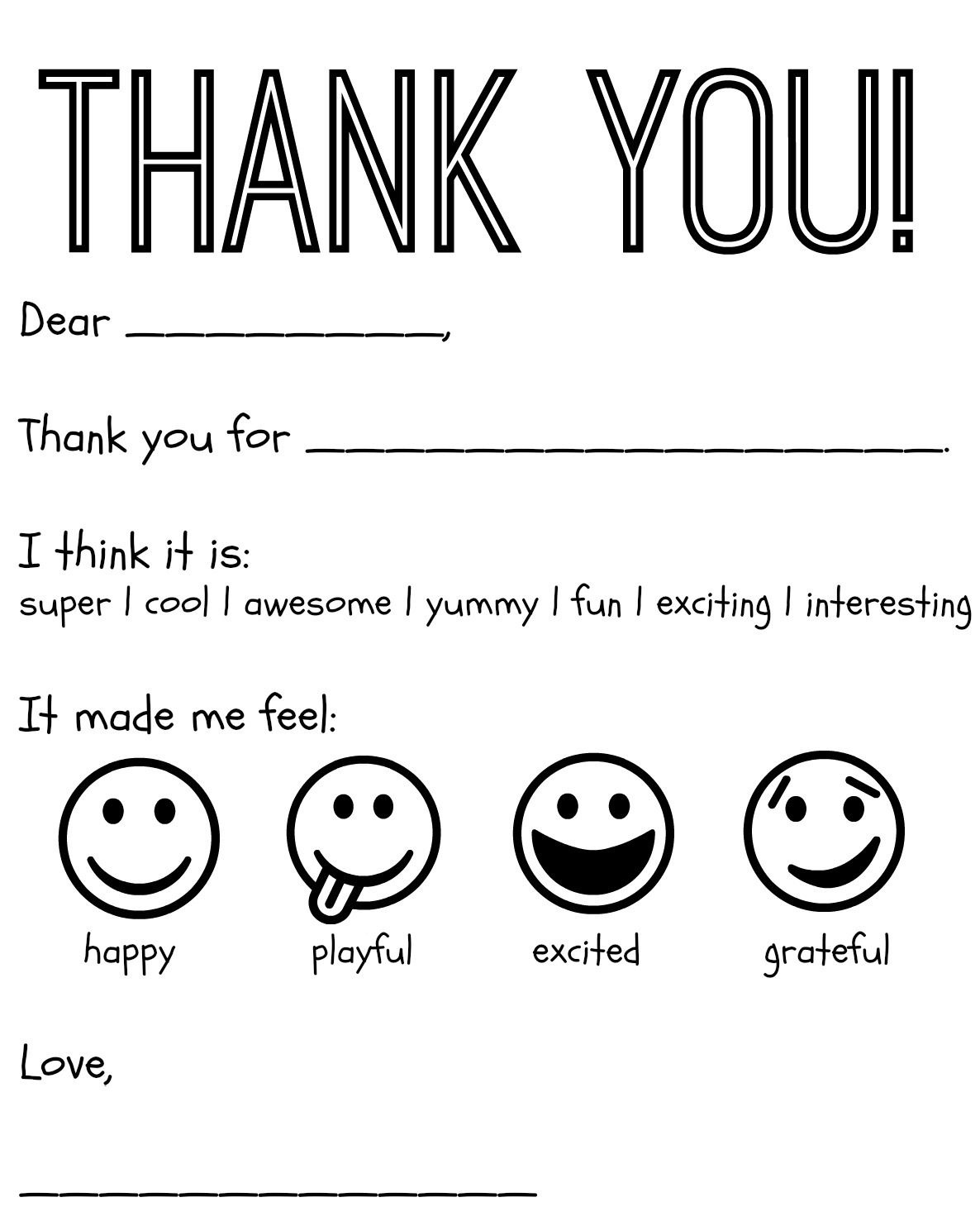Free Printable Kids Thank You Cards To Color   Thank You Card - Free Printable Thank You Cards Black And White