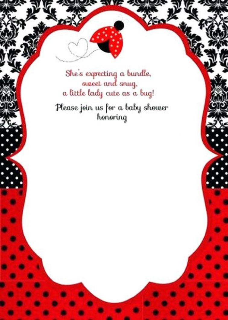 Free Printable Ladybug Baby Shower Invitations Templates | Party - Free Printable Ladybug Invitations