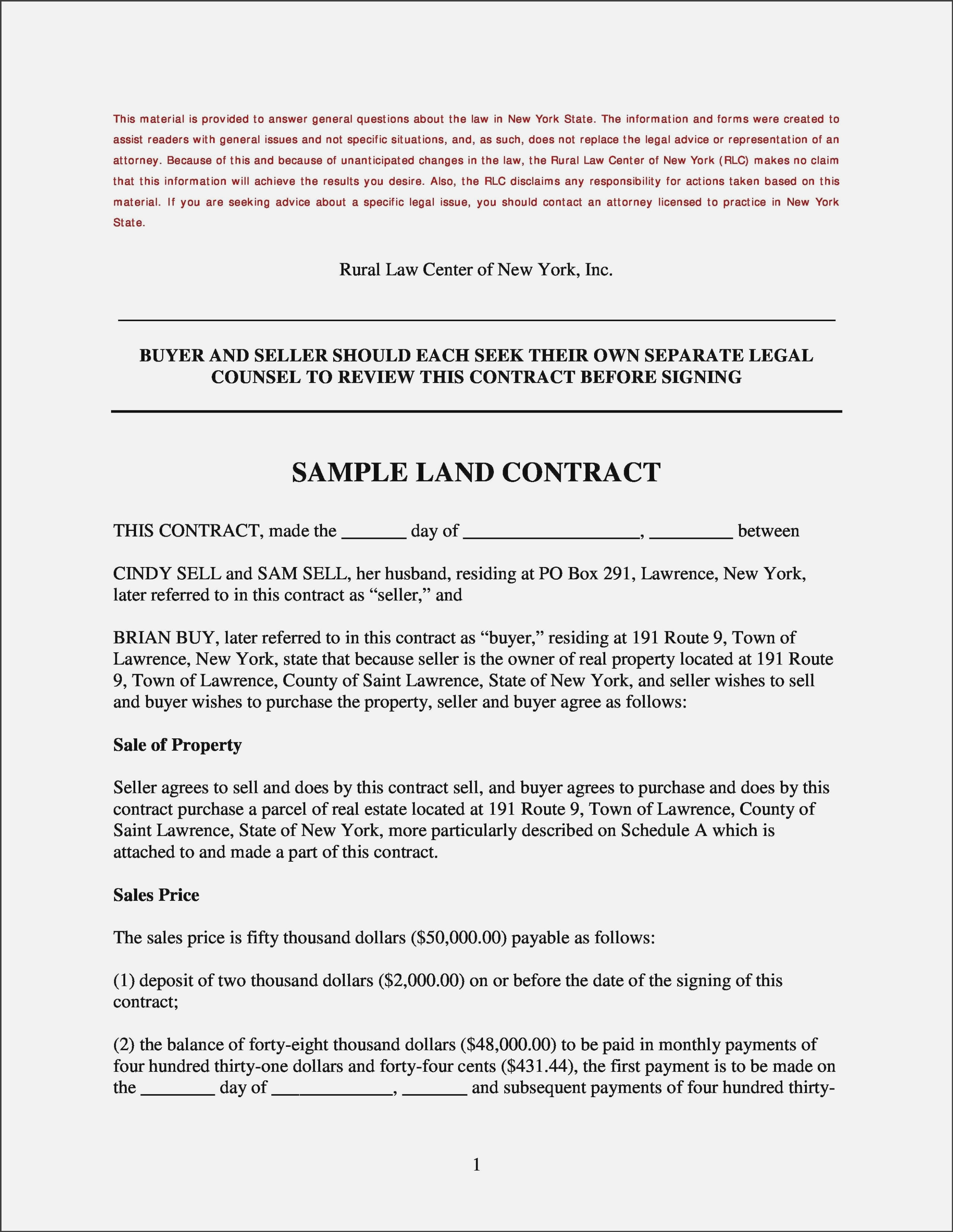 Free Printable Land Contract Forms #13 – Free Legal Forms New York - Free Printable Land Contract Forms