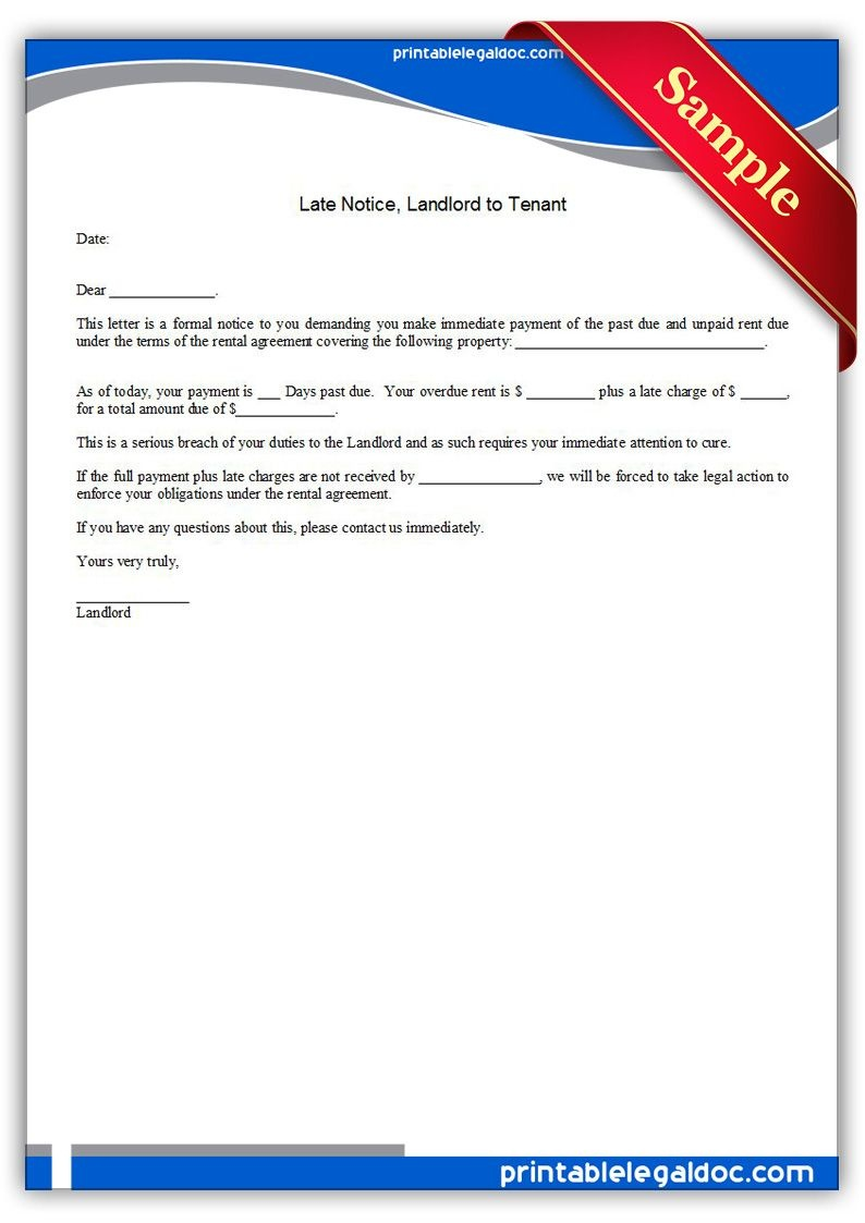 Free Printable Late Notice, Landlord To Tenant Legal Forms | Free - Free Printable Late Rent Notice