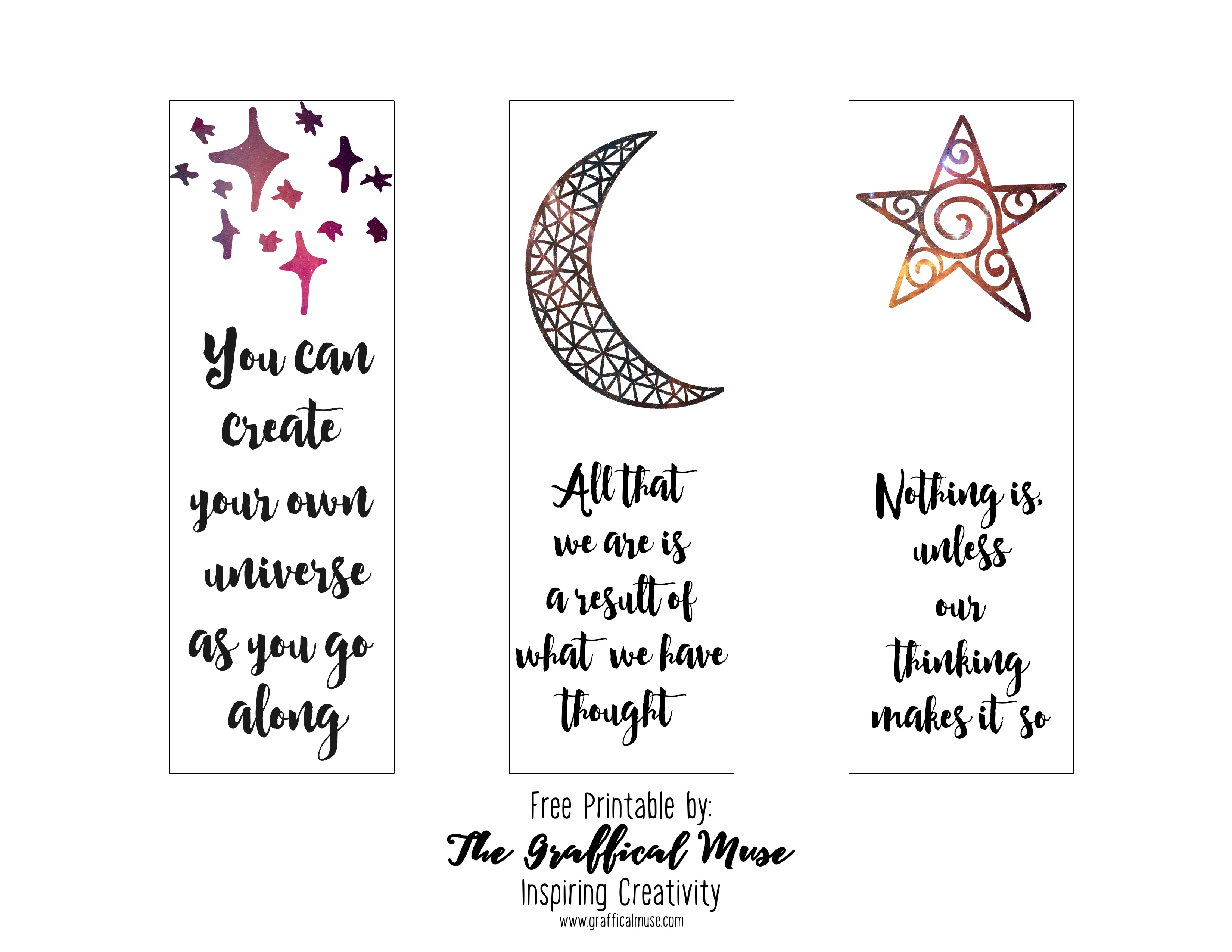 Free Printable Law Of Attraction Bookmarks - The Graffical Muse - Free Printable Bookmarks Pdf