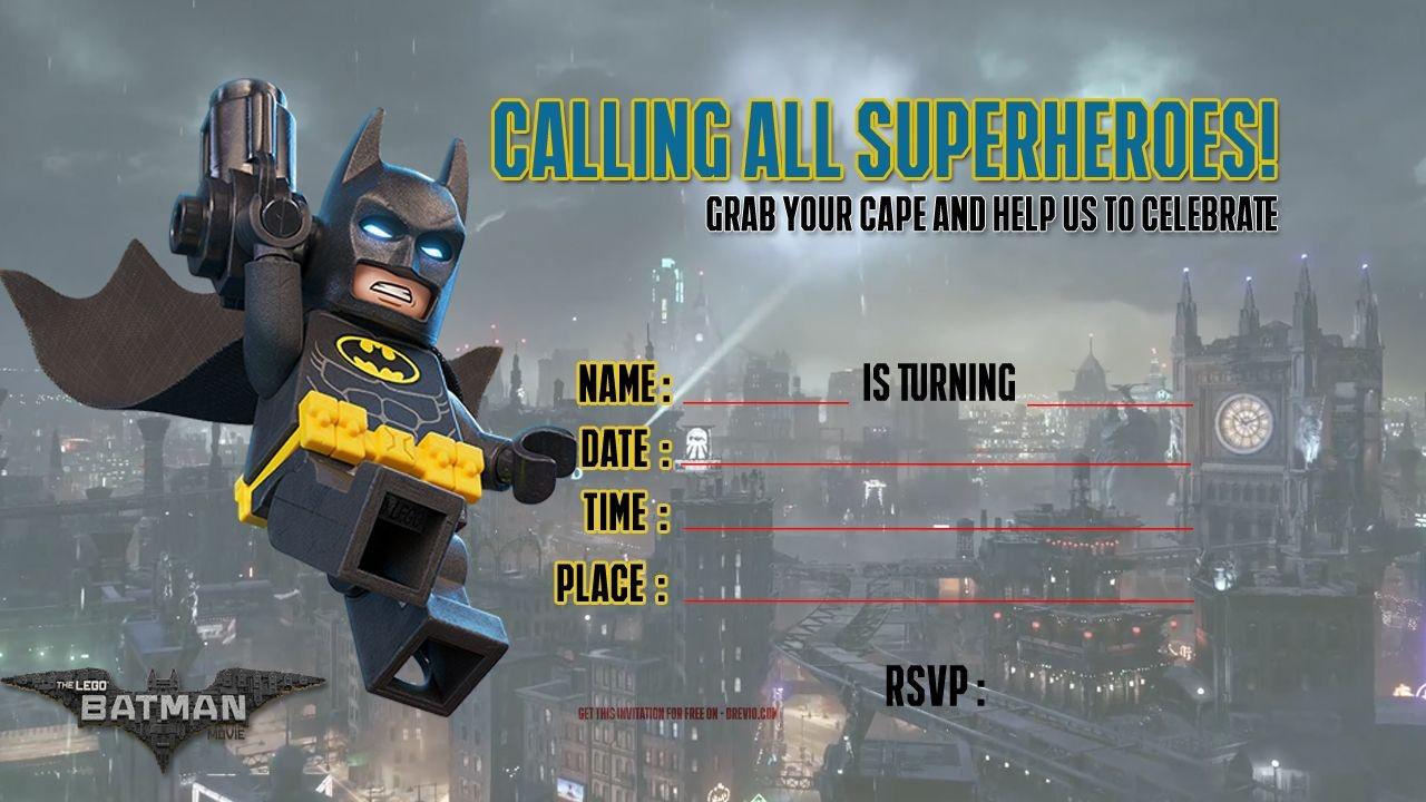 Free Printable Lego Batman The Movie Invitation | Free Printable - Free Printable Lego Batman