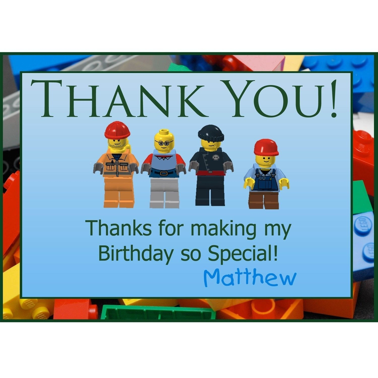Free Printable Lego Thank You Notes | Lego Thank You Greeting Cards - Free Printable Minecraft Thank You Notes
