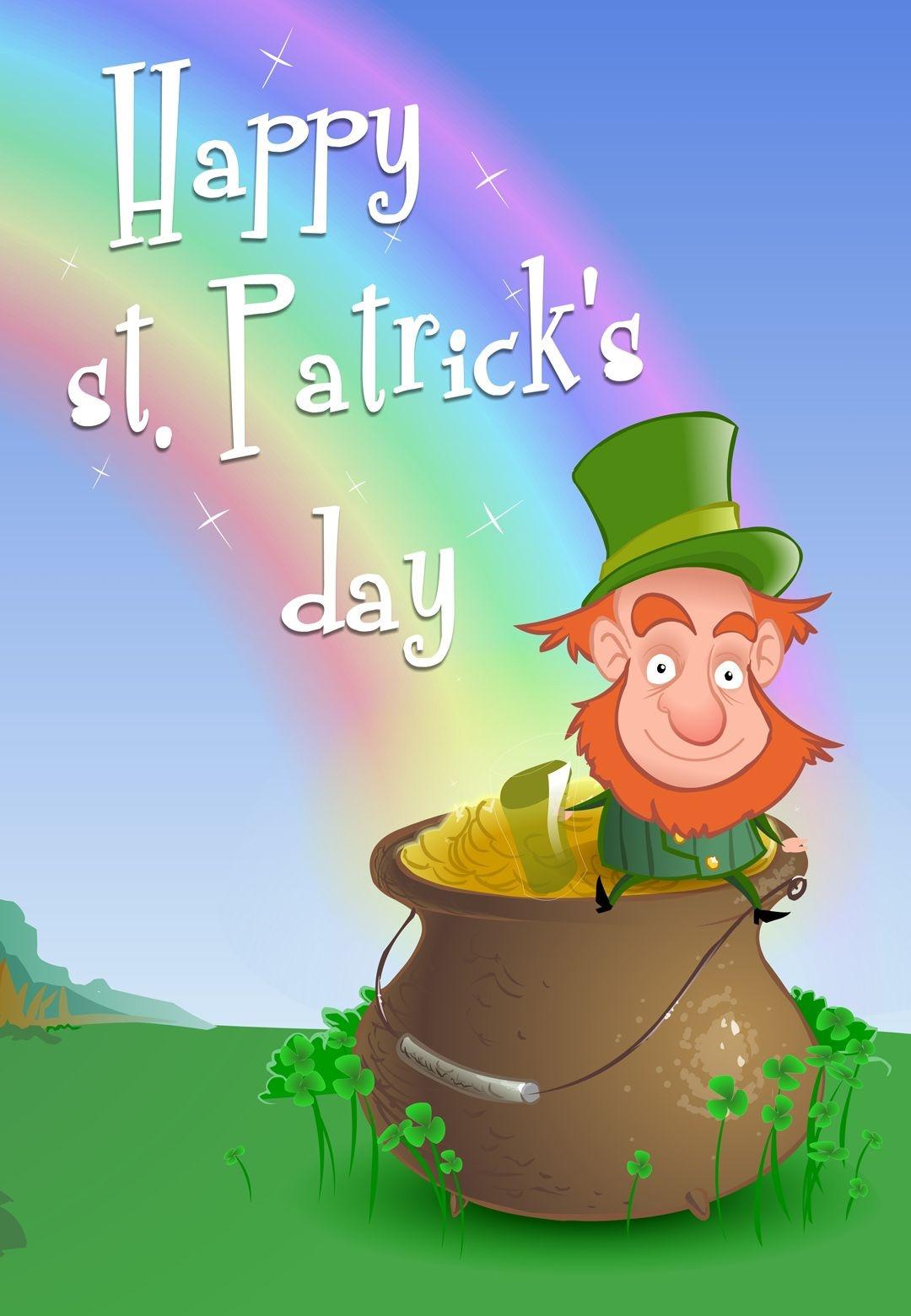 Free Printable Leprechaun Wishing St Patrick's Day Greeting Card - Free Printable St Patrick's Day Greeting Cards