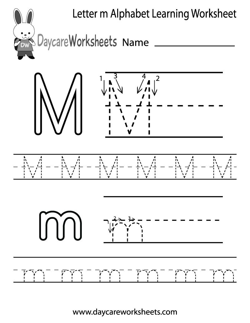 Free Printable Letter M Alphabet Learning Worksheet For Preschool - Free Letter Printables For Preschool