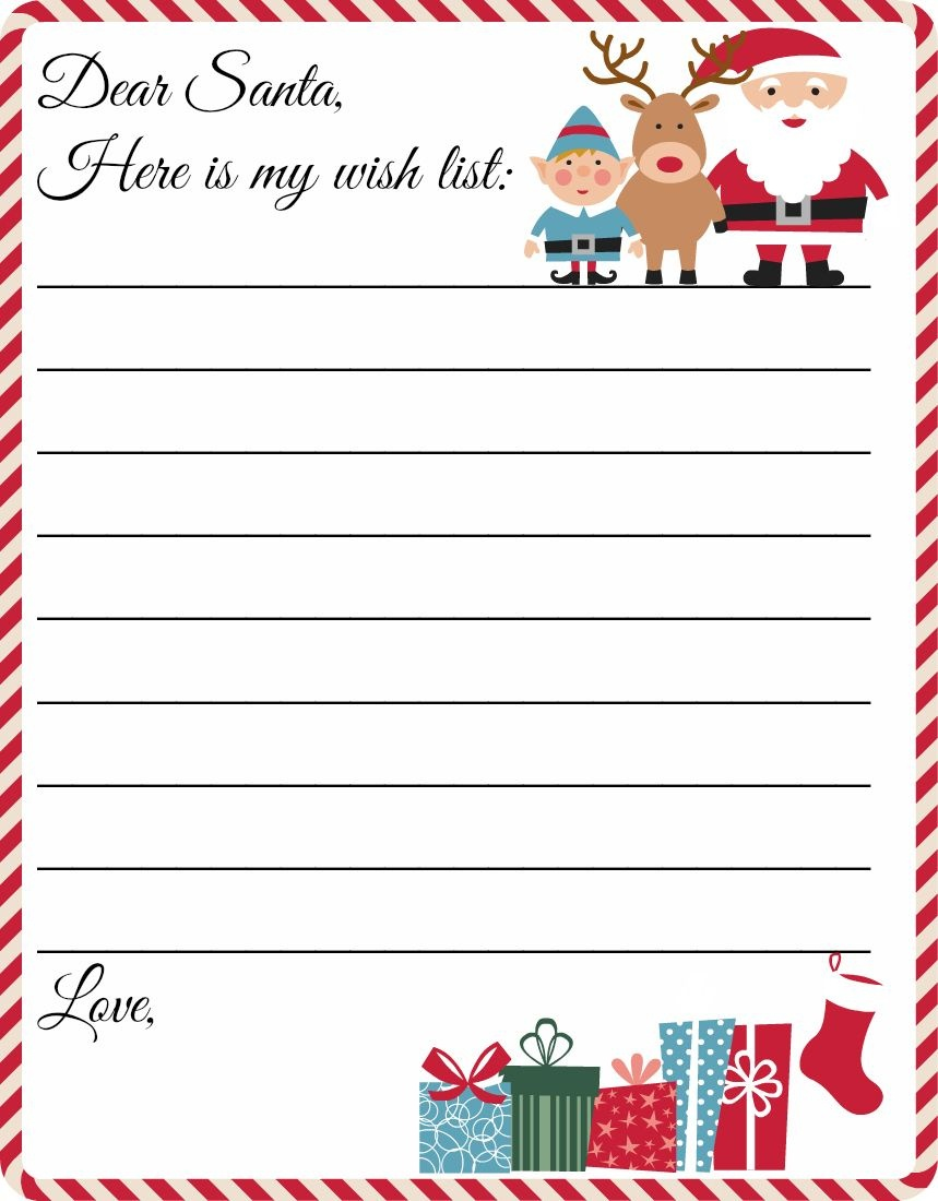 Free Printable Letter To Santa Template ~ Cute Christmas Wish List - Free Printable Christmas Card List Template