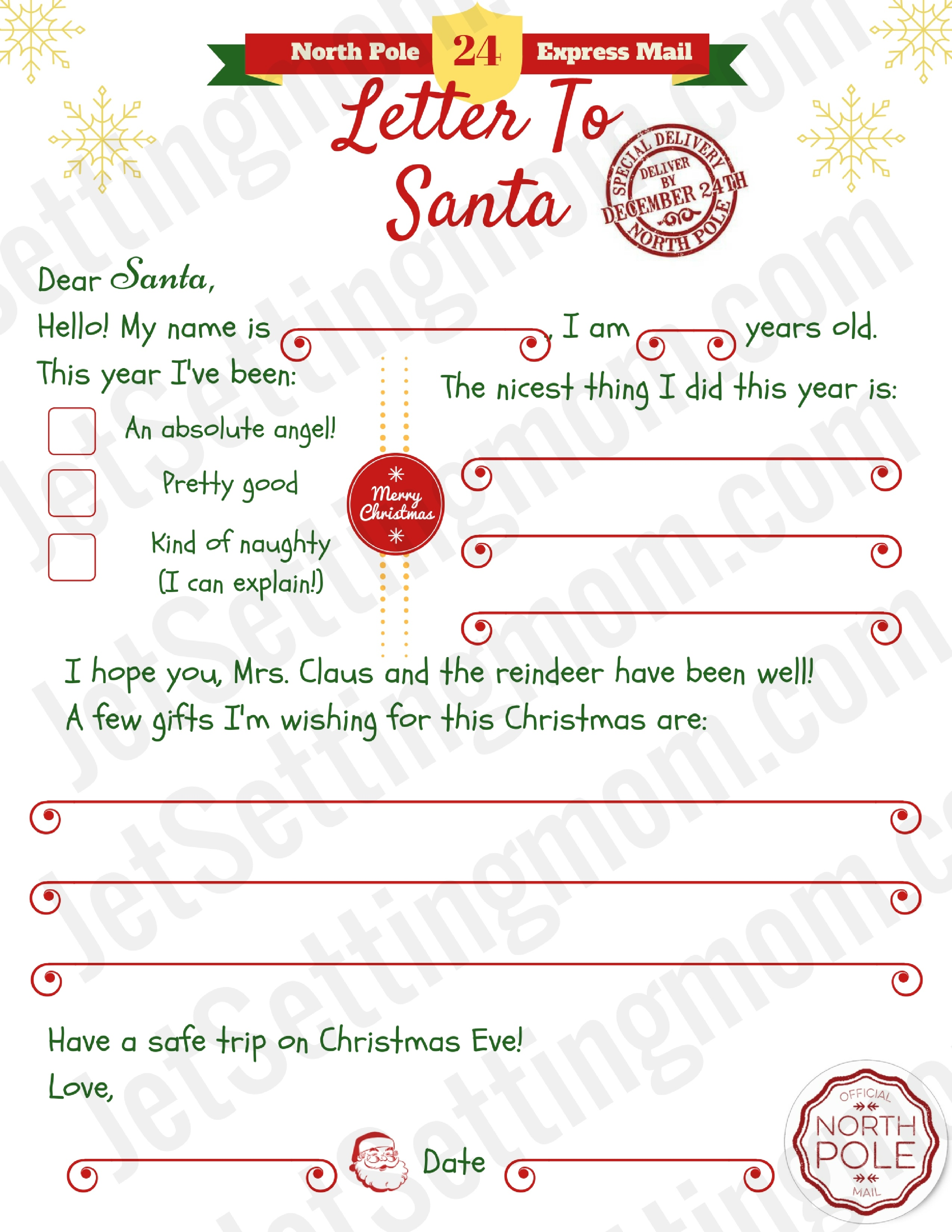 Free Printable Letter To Santa Template - Writing To Santa Made Easy! - Free Santa Templates Printable