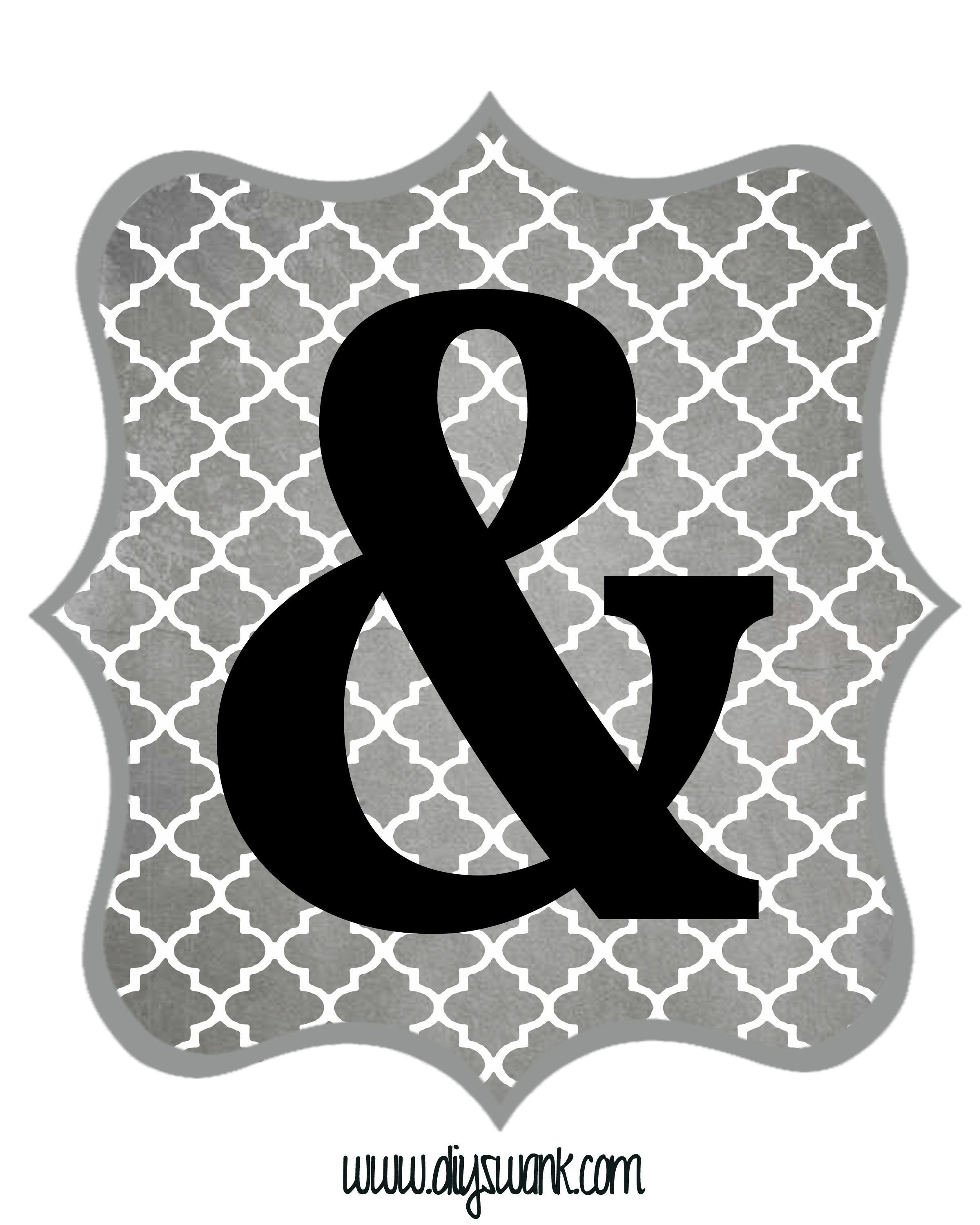 Free Printable Letters Gray And Black | Diy Swank - Free Printable Ampersand Symbol
