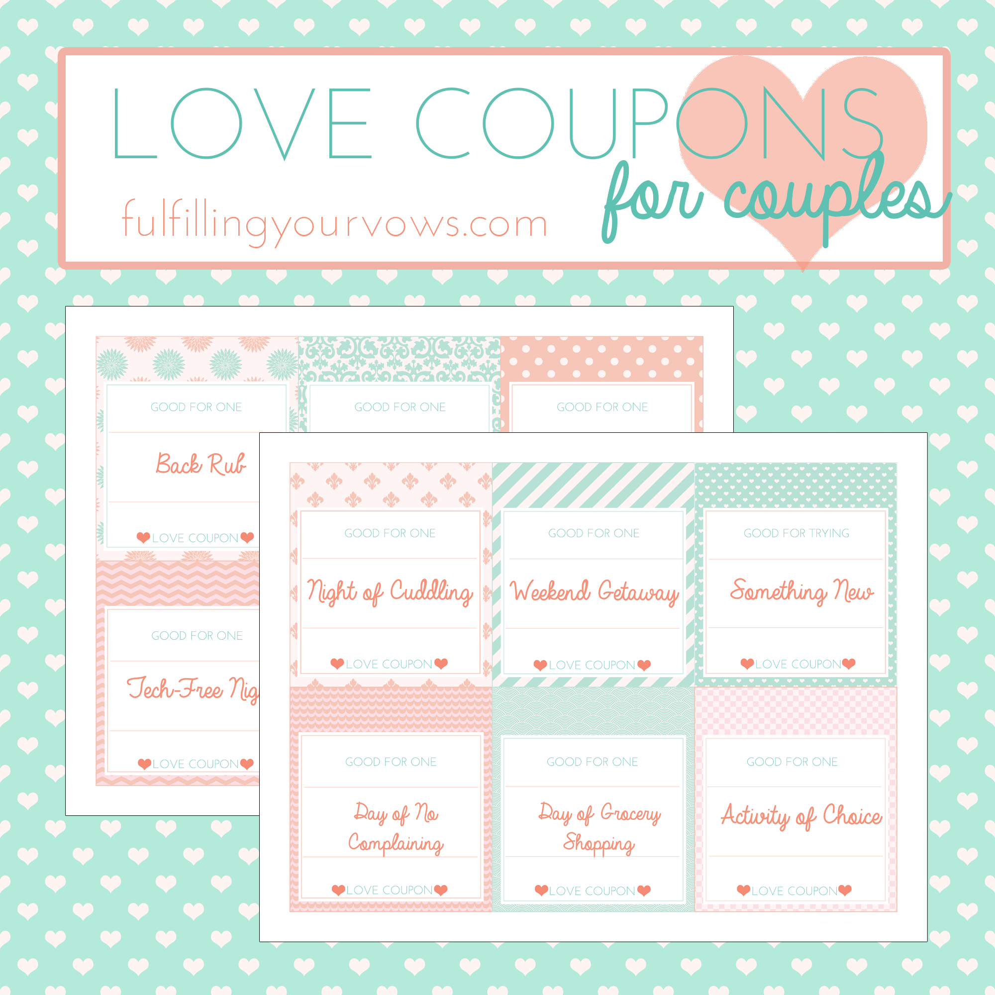 Free Printable Love Coupons For Couples - Fulfilling Your Vows - Free Printable Date Night Coupon