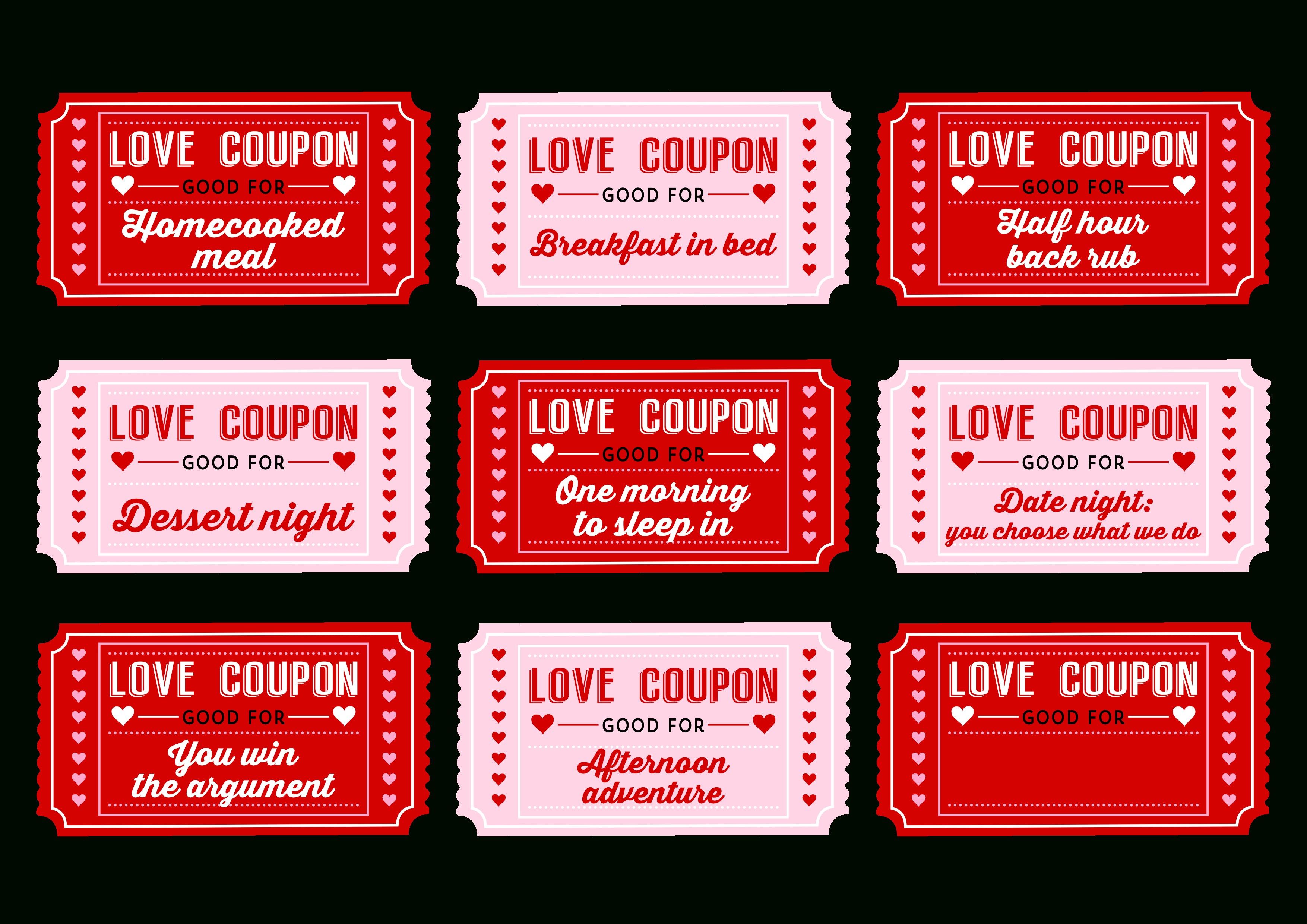 Free Printable Love Coupons For Couples On Valentine's Day! | Catch - Free Printable Valentines Day Coupons For Boyfriend