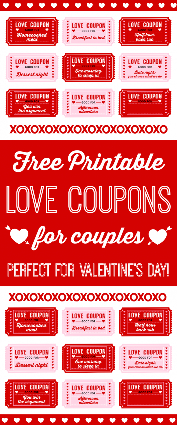 Free Printable Love Coupons For Couples On Valentine's Day - Love Coupons For Him Printable Free