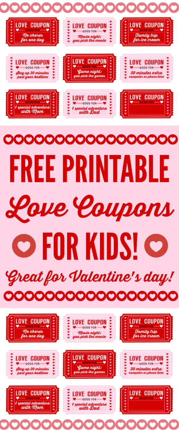Free Printable Love Coupons For Kids On Valentine's Day - Free Printable Valentines Day Coupons For Boyfriend