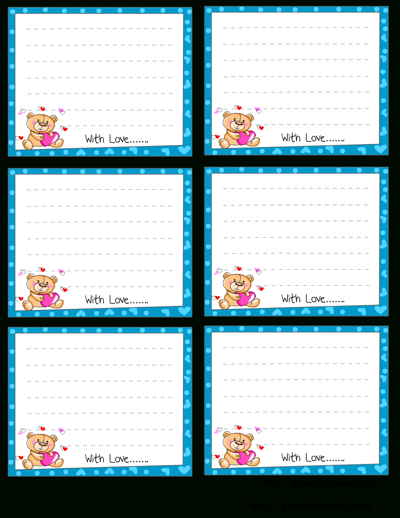 Free Printable Love Notes Stationery - Free Printable Note Cards Template