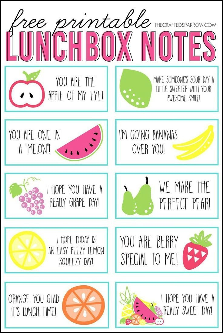 Free Printable Lunchbox Notes | The Group Board On Pinterest | Lunch - Free Printable Lunchbox Notes