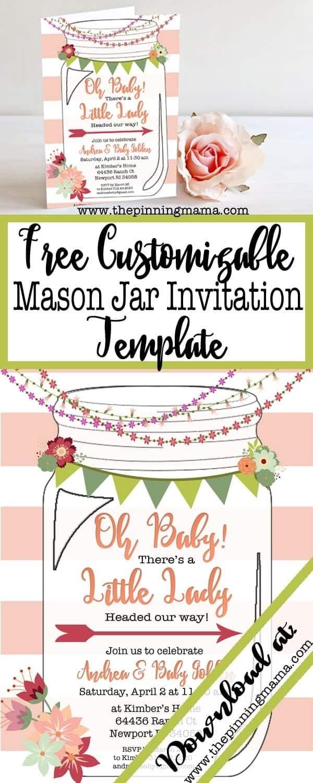 Free Printable Mason Jar Invitation • The Pinning Mama - Free Printable Mason Jar Invitation Template