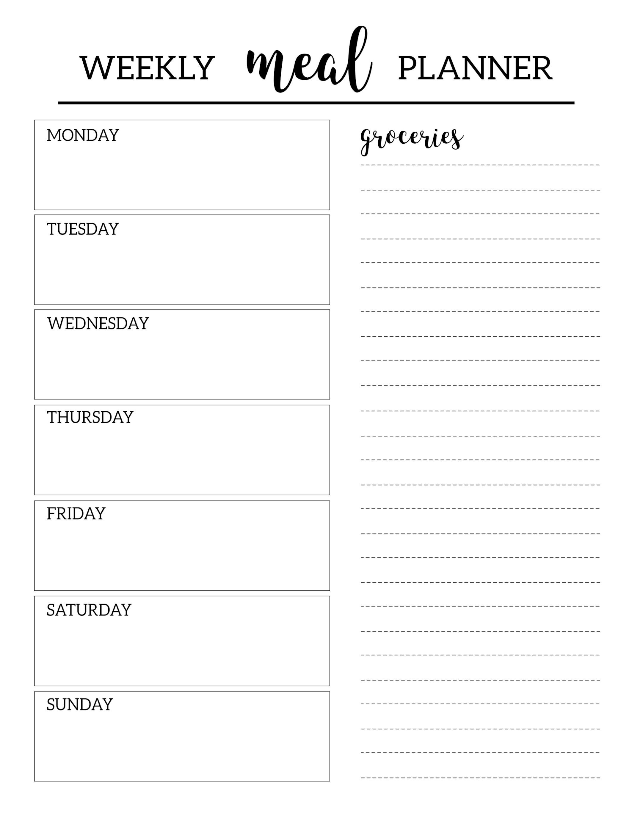 Free Printable Meal Planner Template | Organization | Meal Planner - Free Printable Menu