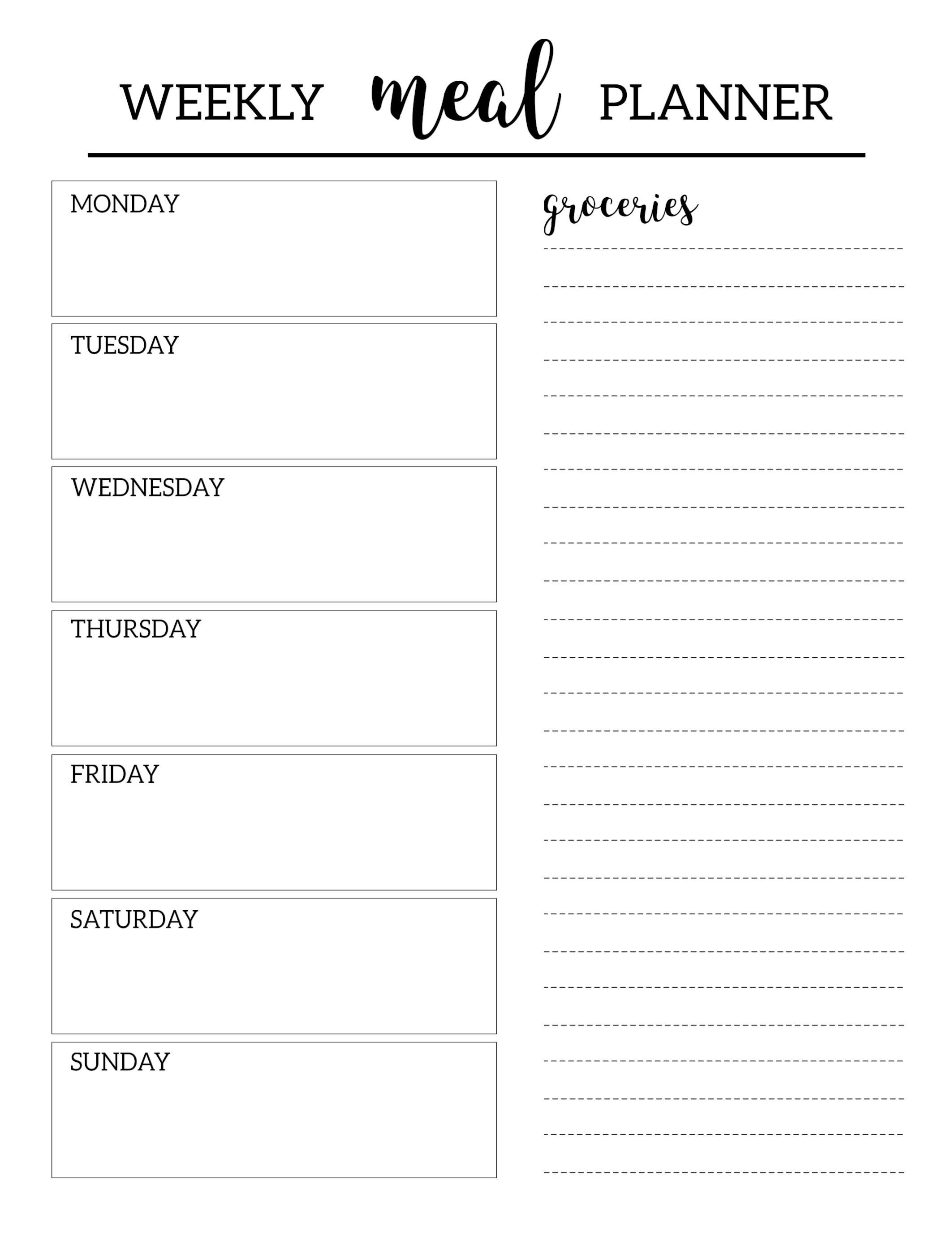 Free Printable Meal Planner Template | Printables | Meal Planner - Weekly Menu Free Printable