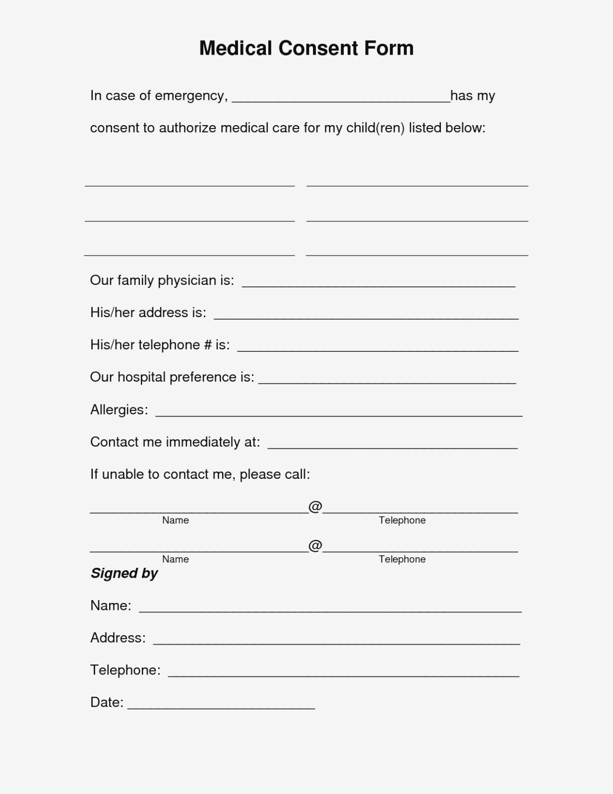 Free Printable Medical Consent Form   Free Medical Consent Form - Free Printable Parenting Plan