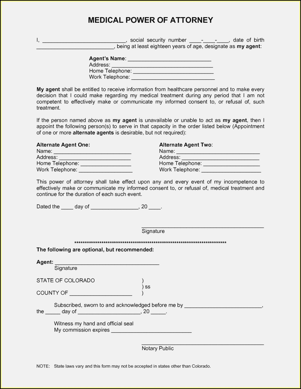 Free Printable Medical Power Of Attorney Forms - Form : Resume - Free Blank Printable Medical Power Of Attorney Forms