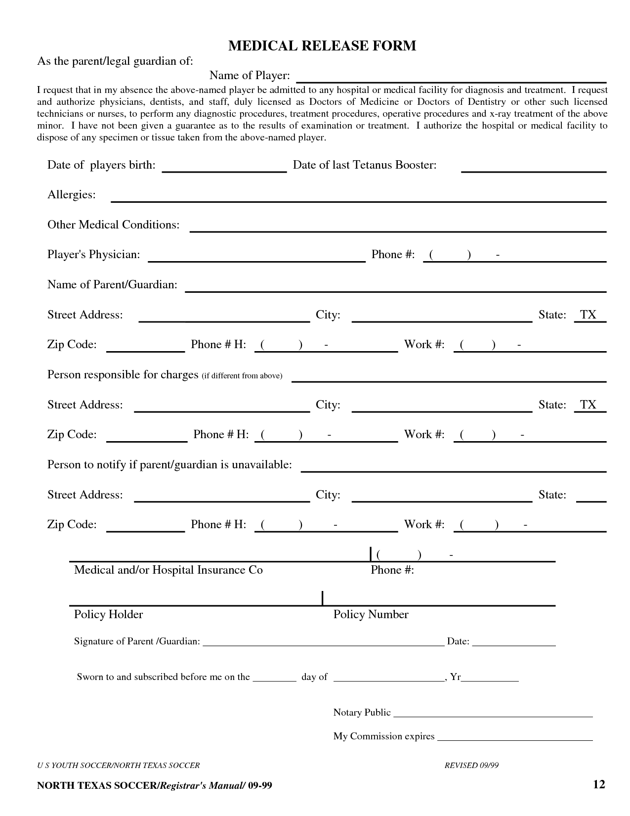 Free Printable Medical Release Form Template | Medical Release Form - Free Printable Medical Release Form