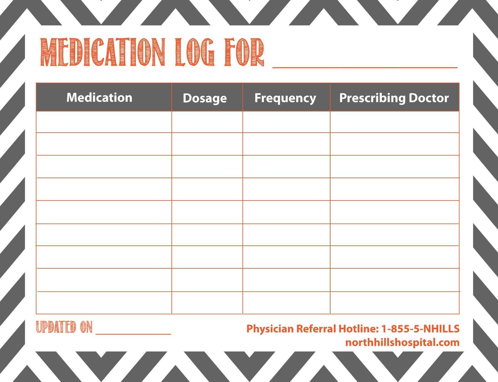 Free Printable: Medication Log   Planner Ideas & Printables - Free Printable Medication Log