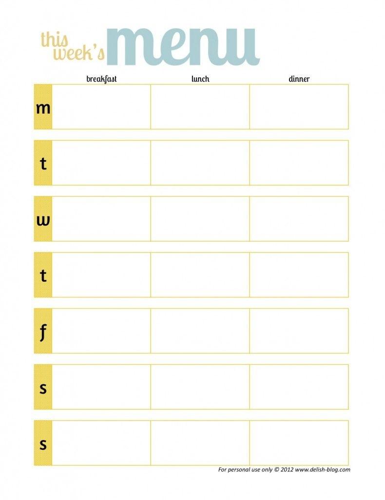 Free Printable Menu Planners -Has One Without Days Of The Week - Weekly Menu Free Printable
