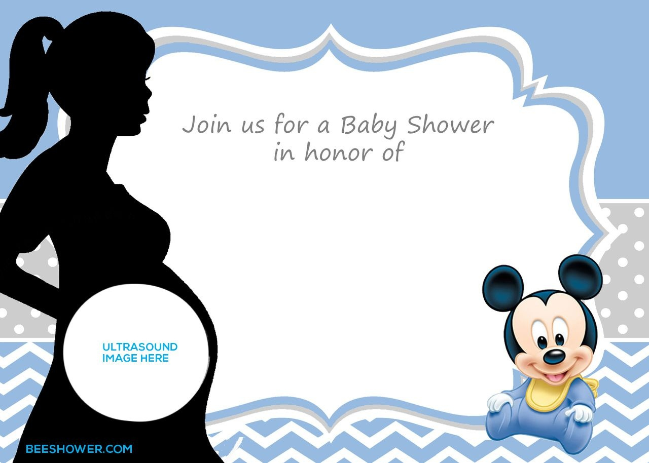 Free Printable Mickey Mouse Baby Shower Invitation Template   Baby - Free Printable Baby Mickey Mouse Birthday Invitations