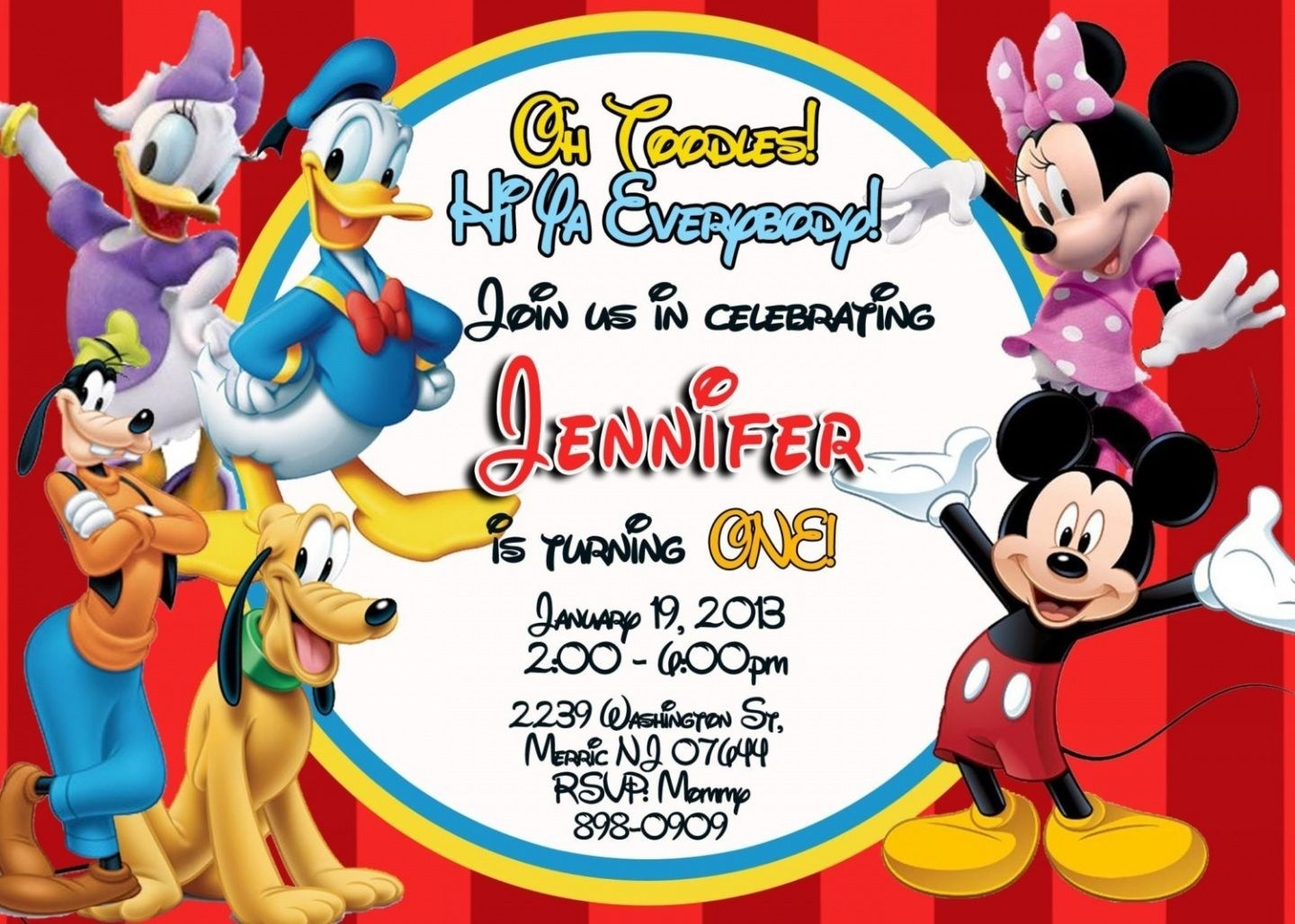 Free Printable Mickey Mouse Clubhouse Invitations Template | Baby - Free Printable Mickey Mouse Birthday Invitations