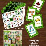 Free Printable Minecraft Bingo Game | It's My Party! | Minecraft   Free Printable Minecraft Bingo Cards